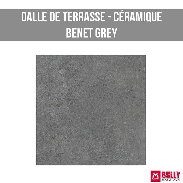 Dalle de terrasse ceramique benet grey