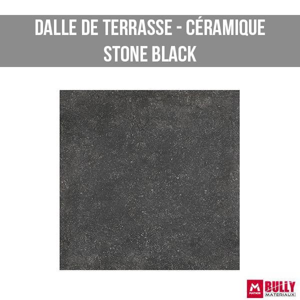 Dalle de terrasse ceramique stone black