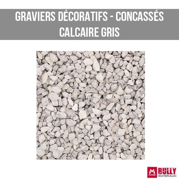 Gravier decoratif concasse calcaire gris
