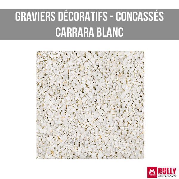 Gravier decoratif concasse carrara blanc