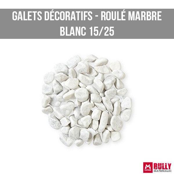 Gravier decoratif roule marbre blanc