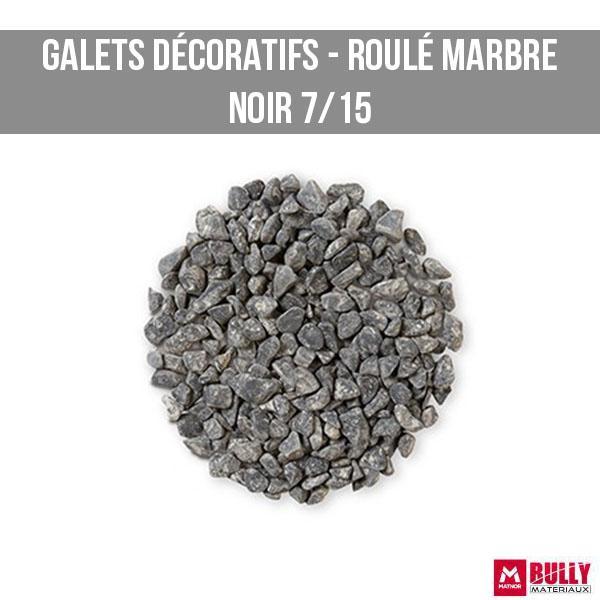 Gravier decoratif roule marbre noir