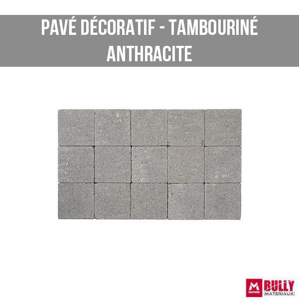 Pave decoratif tambourine anthracite