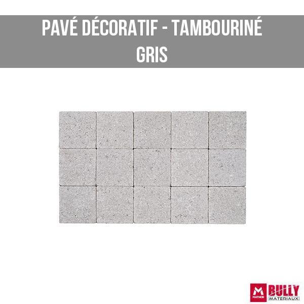 Pave decoratif tambourine gris 1