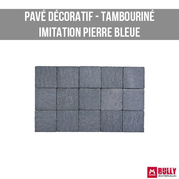 Pave decoratif tambourine pierre bleue